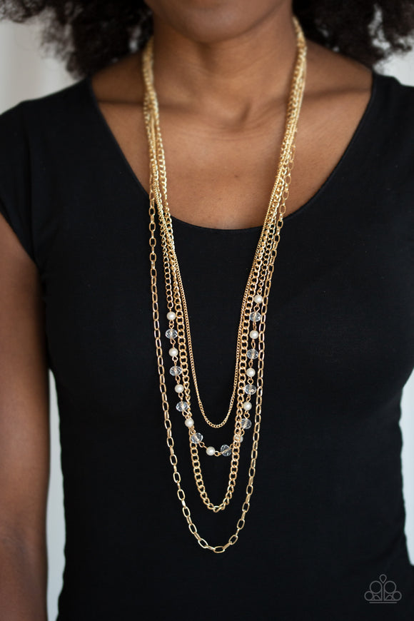 Paparazzi SoHo Sophistication - Gold - Multi Layered Chains - White Pearly and Crystal Beads - Necklace & Earrings - Lauren's Bling $5.00 Paparazzi Jewelry Boutique
