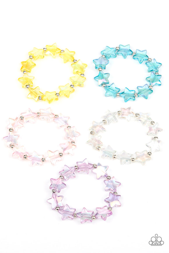 Paparazzi Starlet Shimmer Bracelets - 10 - Iridescent Stars - Blue, Yellow, Purple, Pink & White - Lauren's Bling $5.00 Paparazzi Jewelry Boutique