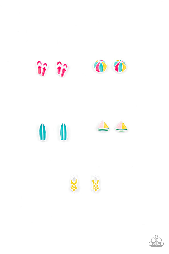 Paparazzi Starlet Shimmer Post Earrings - 10! SUMMER FUN! Beach Balls, Pink Flip Flops, Yellow Swimsuits, Blue Surfboards, Sailboats!
