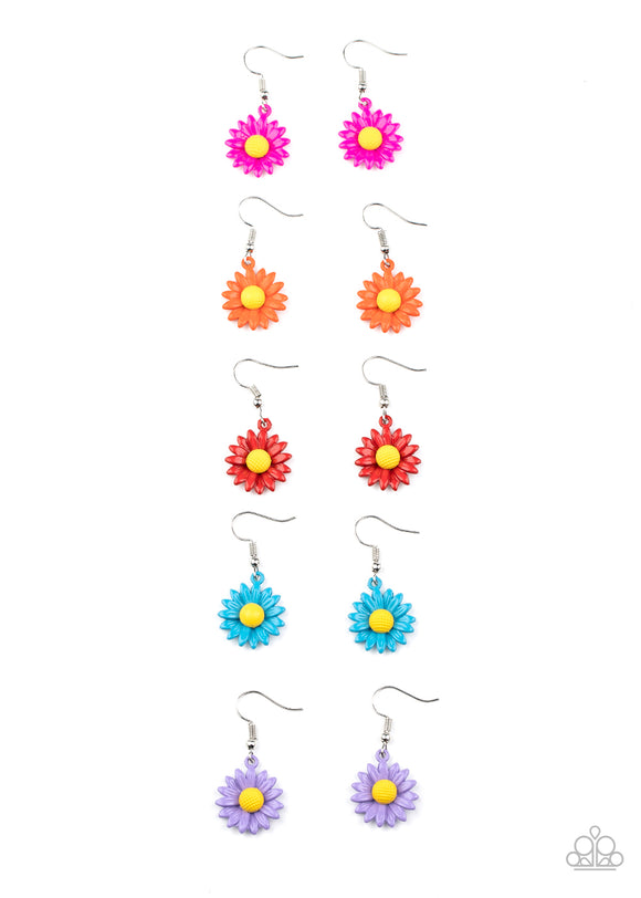 Paparazzi Girls Starlet Shimmer Earrings - 10 - Daisy Flower in Red, Blue, Orange, Pink & Purple Petals