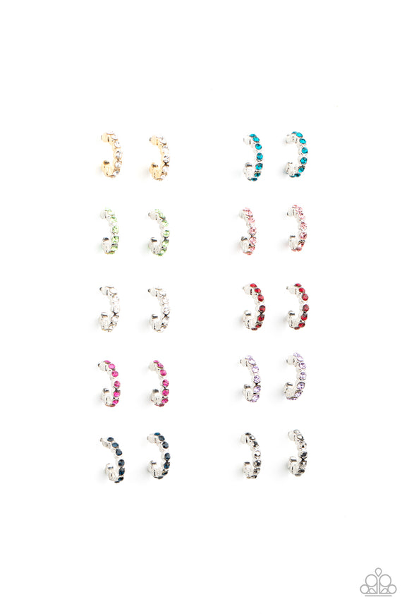 Paparazzi Girls Starlet Shimmer Earrings - 10 - Silver & Gold Hoops - Pink, Blue, White, Green, Purple, Red & Hematite Rhinestones