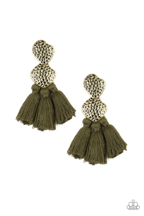 Paparazzi Tenacious Tassel - Green - Thread / Tassel / Fringe - Hammered Brass - Earrings