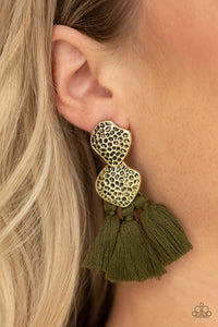 Paparazzi Tenacious Tassel - Green - Thread / Tassel / Fringe - Hammered Brass - Earrings - Lauren's Bling $5.00 Paparazzi Jewelry Boutique