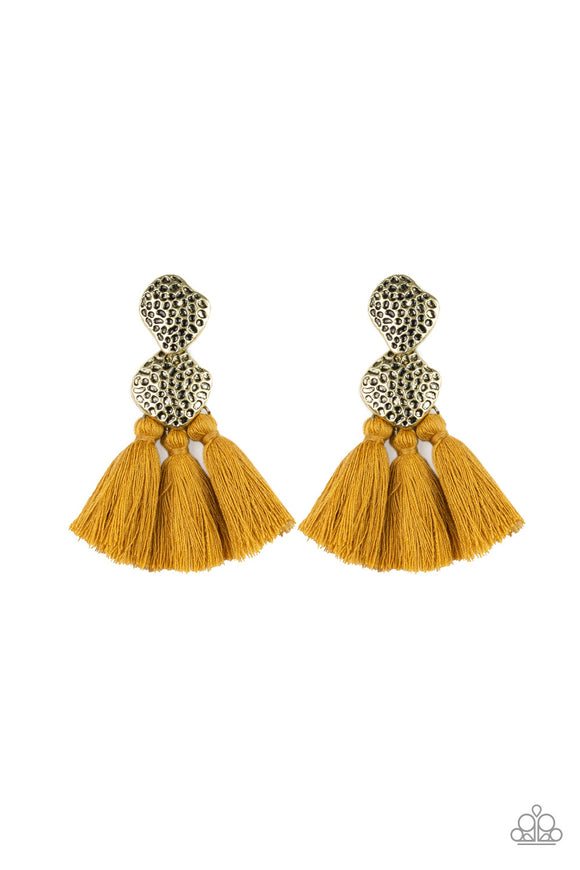Paparazzi Tenacious Tassel - Yellow - Thread / Tassel / Fringe - Hammered Brass - Earrings