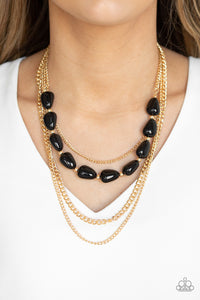 Paparazzi Trend Status - Black Beads - Gold Layers of Chains - Necklace and matching Earrings - Lauren's Bling $5.00 Paparazzi Jewelry Boutique