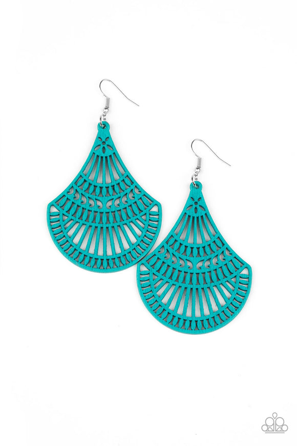 PRE-ORDER - Paparazzi Tropical Tempest - Blue - Wooden Teardrop - Earrings