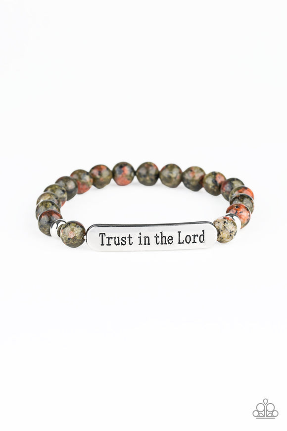 Paparazzi Trust Always - Multi Stone Beads - Silver Stamped