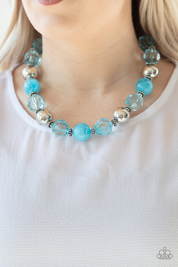 Paparazzi Very Voluminous - Blue - Crystal Beads - Silver Accents - Necklace & Earrings - Lauren's Bling $5.00 Paparazzi Jewelry Boutique