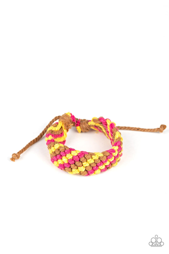 Pre-Order Ships 4/8 Paparazzi WEAVE No Trace - Pink - Brown and Yellow Braid - Sliding Knot Bracelet