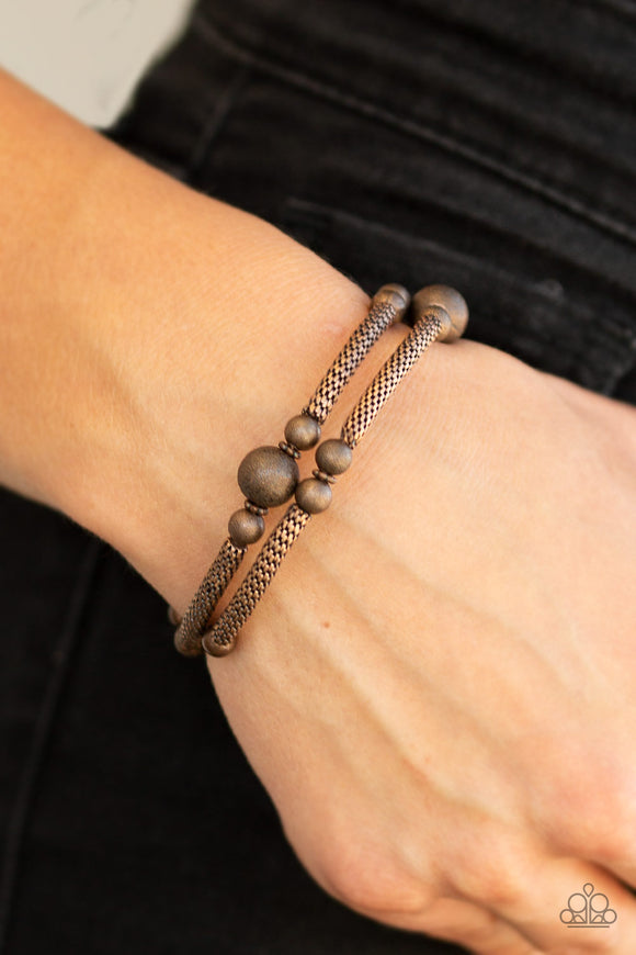 Pre-Order Ships 1/29 - Paparazzi West End Wraparound - Copper - Wire Mesh - Coiled Infinity Wrap - Bracelet