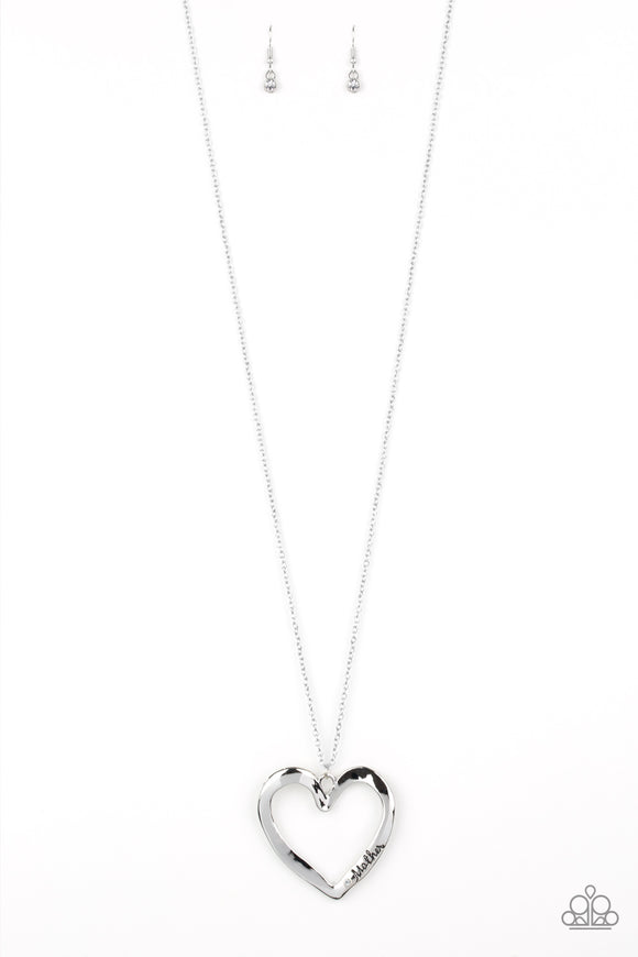 Paparazzi A Mothers Love - Silver Heart - Mom / Mother Necklace and matching Earrings