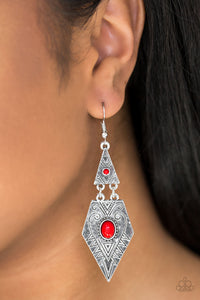 Paparazzi Drifting Dunes - Red Beads - Silver Tribal Inspired - Earrings - Lauren's Bling $5.00 Paparazzi Jewelry Boutique
