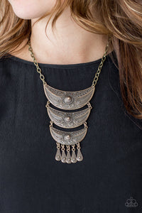 Paparazzi Go STEER-Crazy - Brass - Necklace and matching Earrings - Lauren's Bling $5.00 Paparazzi Jewelry Boutique
