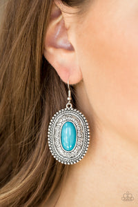 Paparazzi Haute Hacienda - Blue - Bead - Shimmery Silver Embossed - Earrings - Lauren's Bling $5.00 Paparazzi Jewelry Boutique