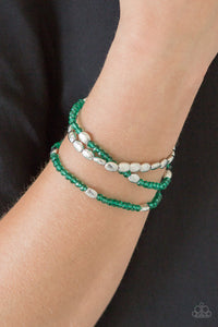 Paparazzi Hello Beautiful - Green Beads - Set of 3 Stretchy Band Bracelets - Lauren's Bling $5.00 Paparazzi Jewelry Boutique