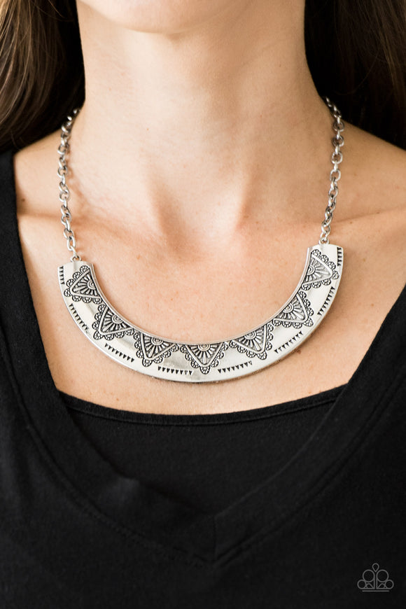 Paparazzi Persian Pharaoh - Silver - Geometric Patterns - Necklace & Earrings - Lauren's Bling $5.00 Paparazzi Jewelry Boutique