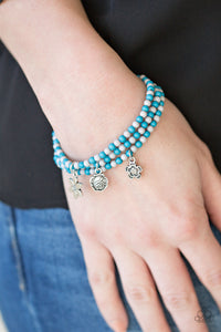 Paparazzi Rooftop Gardens - Blue - Gray Beads - Floral Charms - Set of 3 Bracelets - Lauren's Bling $5.00 Paparazzi Jewelry Boutique