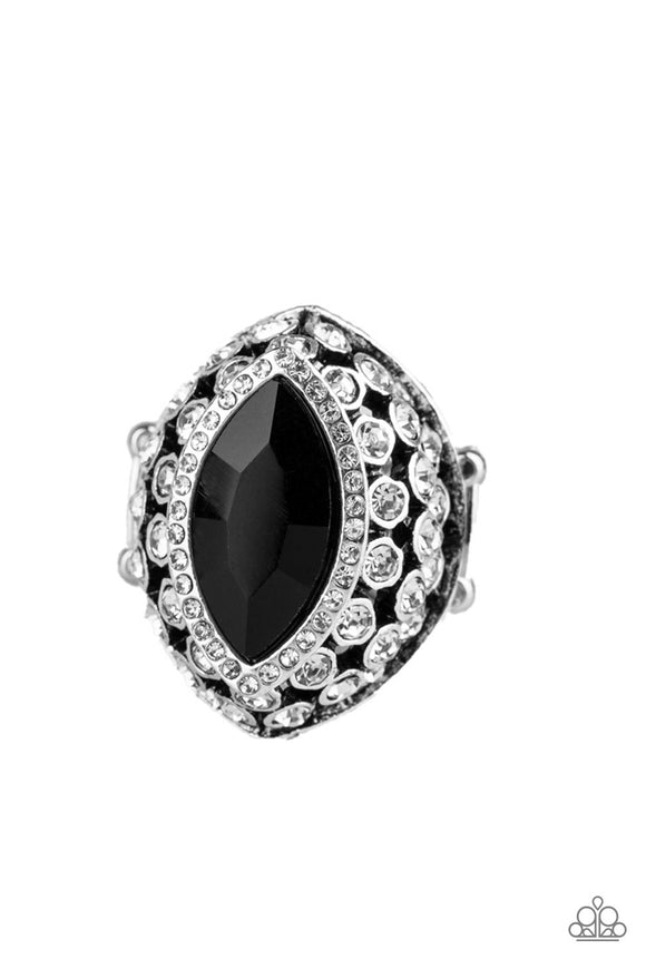 Paparazzi Royal Radiance - Black Rhinestone - Silver Ring - Life of the Party Exclusive May 2019