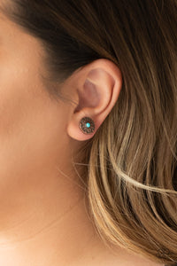 Paparazzi Santa Fe Fiesta - Copper - Turquoise Stone - Post Earrings - Lauren's Bling $5.00 Paparazzi Jewelry Boutique