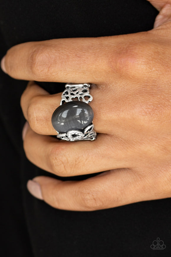 Paparazzi So In Love - Silver - Moonstone - White Rhinestones - Heart Ring - Lauren's Bling $5.00 Paparazzi Jewelry Boutique