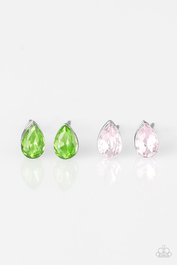 Paparazzi Starlet Shimmer Earrings 10 - Pear Shaped Studs - Green, Pink, White