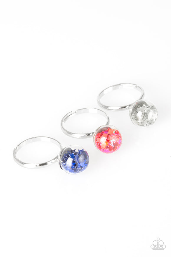 Paparazzi Starlet Shimmer Rings - 10 - Confetti - STARS - Blue, Pink, White, Multi