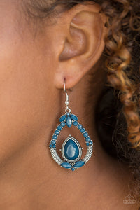 Paparazzi Vogue Voyager - Blue - Faceted Beads - Ornate Silver Teardrop Earrings - Lauren's Bling $5.00 Paparazzi Jewelry Boutique