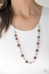 Paparazzi Weekend Getaway - Brown - Glittery Beads - Silver Chain Necklace & Earrings - Lauren's Bling $5.00 Paparazzi Jewelry Boutique
