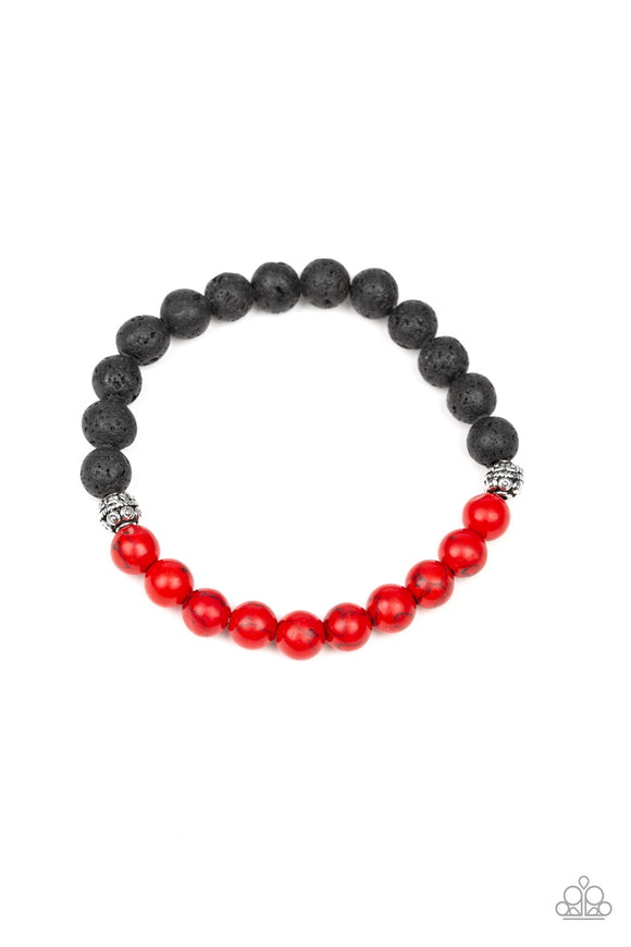 Paparazzi Fortune - Red Stones - Black Lava Rocks - Stretchy band Bracelet