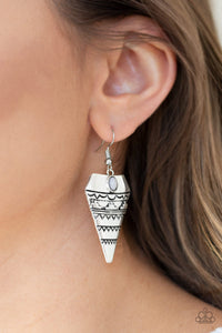 Paparazzi Jurassic Journey - Silver - Gray Bead - Silver Embossed Triangular Earrings - Lauren's Bling $5.00 Paparazzi Jewelry Boutique