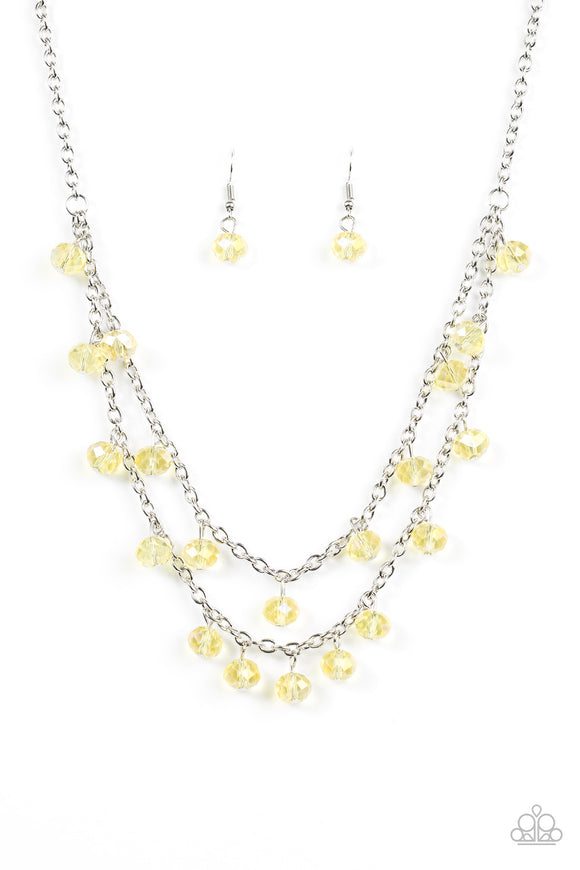 Paparazzi Super Supernova - Yellow - Crystal Beads - Silver Chains - Necklace and matching Earrings - Lauren's Bling $5.00 Paparazzi Jewelry Boutique
