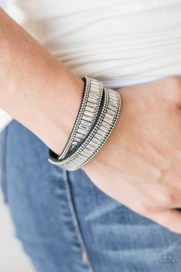 Paparazzi True GLITZ - Black - Rhinestones Wrap Bracelet - Lauren's Bling $5.00 Paparazzi Jewelry Boutique