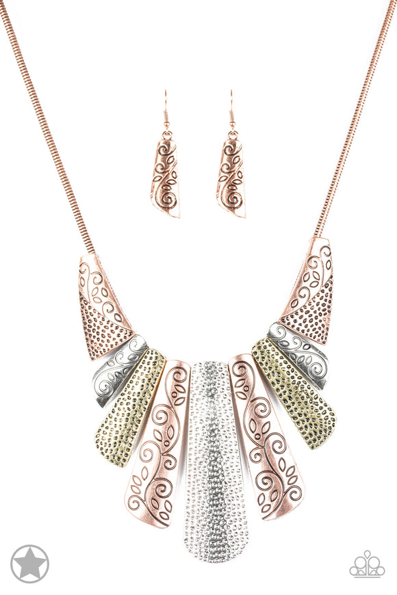 Paparazzi Untamed - Copper, Silver, Brass Plates - Blockbuster Necklace and matching Earrings