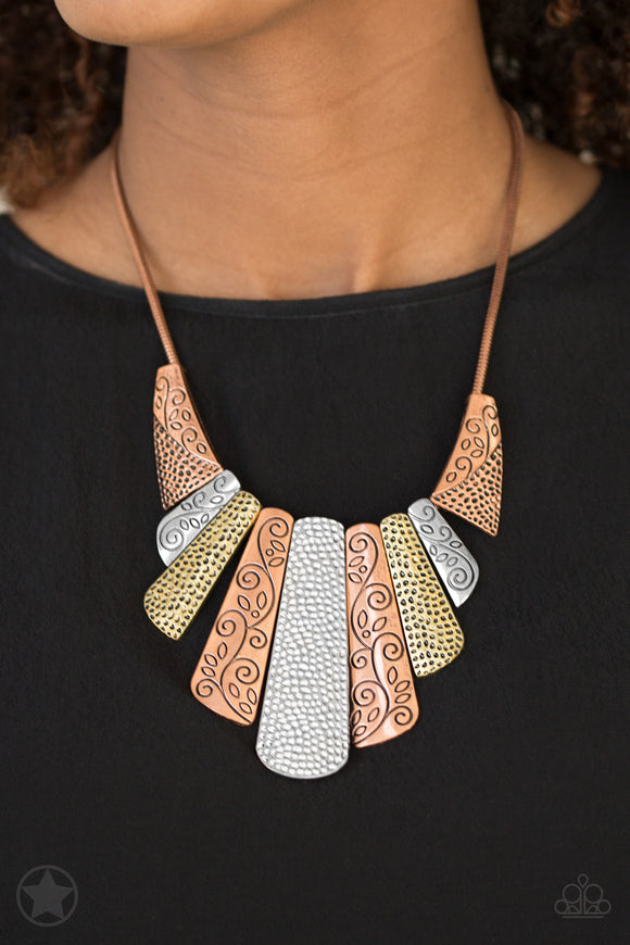Paparazzi Untamed - Multi - Copper, Silver, Brass Plates - Necklace & Earrings - Blockbuster Exclusive - Lauren's Bling $5.00 Paparazzi Jewelry Boutique
