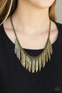Paparazzi The Thrill-Seeker - Brass - Edgy Fringe Necklace and matching Earrings - Lauren's Bling $5.00 Paparazzi Jewelry Boutique