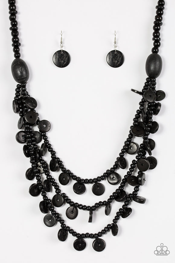 Paparazzi Safari Samba - Black Wooden Necklace and matching Earrings - Lauren's Bling $5.00 Paparazzi Jewelry Boutique