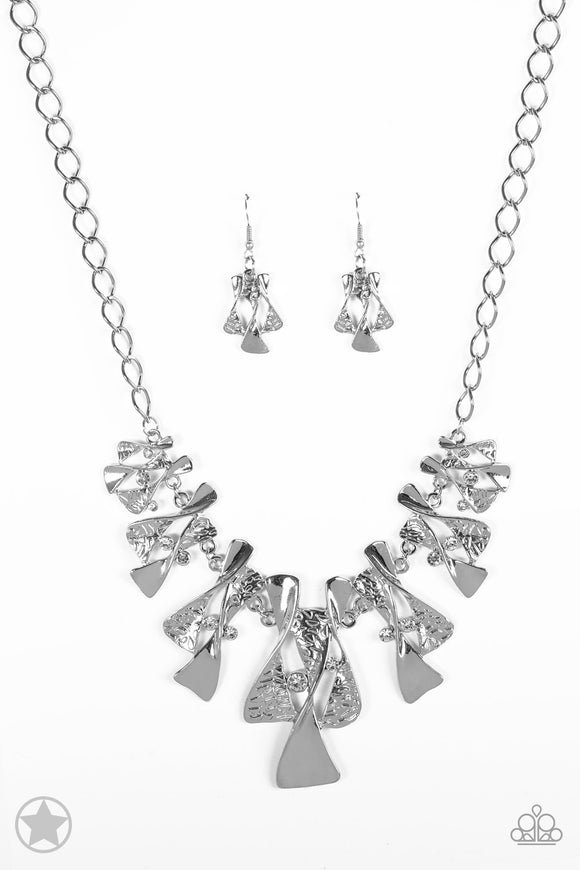 Paparazzi The Sands of Time - Silver Rhinestones - Blockbuster Necklace and matching Earrings