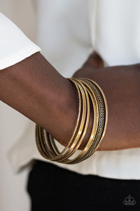 Paparazzi The Big BANGLE - Brass - Set of 7 Bangle Bracelets - Lauren's Bling $5.00 Paparazzi Jewelry Boutique