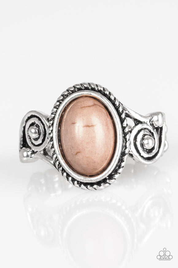 Paparazzi Cactus Creek - Brown Stone - Silver Ring