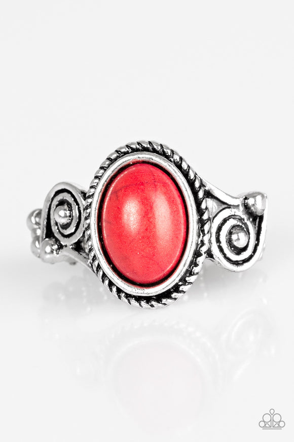 Paparazzi Cactus Creek - Red Stone - Silver Ring - Lauren's Bling $5.00 Paparazzi Jewelry Boutique