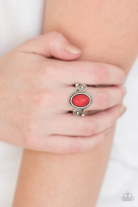 Paparazzi Cactus Creek - Red Stone - Silver Dainty Band Ring - Lauren's Bling $5.00 Paparazzi Jewelry Boutique
