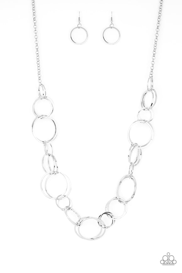 Paparazzi Natural-Born RINGLEADER - Silver Hoops Necklace - 2019 Convention Exclusive