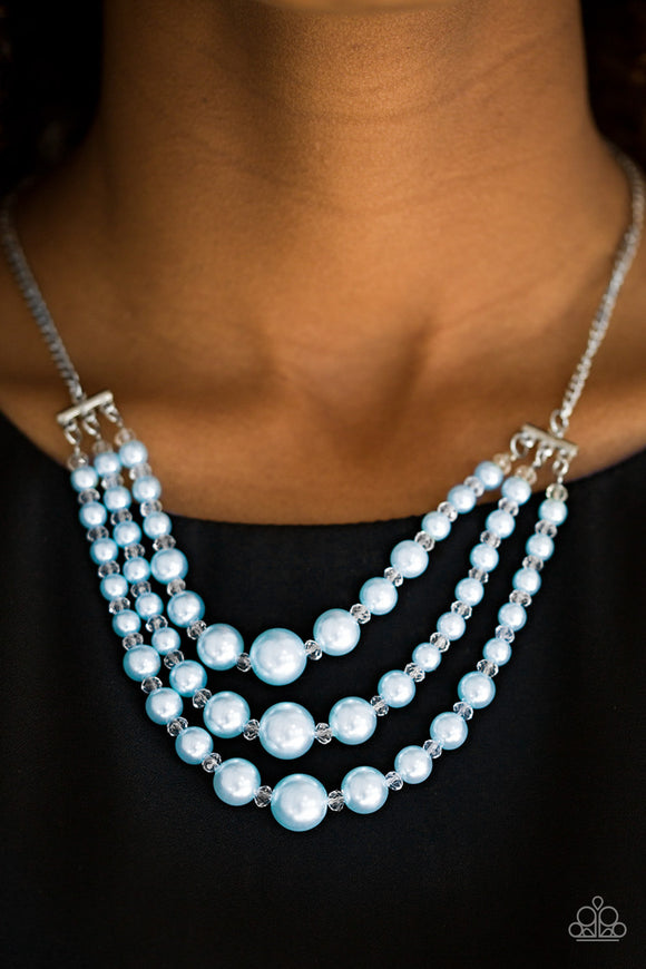 Paparazzi Spring Social - Blue Pearls - Silver Chains - Necklace and matching Earrings - Lauren's Bling $5.00 Paparazzi Jewelry Boutique
