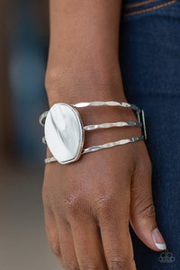 Paparazzi Canyon Dream - White - Faux Rock Acrylic - Hammered Silver Bars - Cuff Bracelet - Lauren's Bling $5.00 Paparazzi Jewelry Boutique