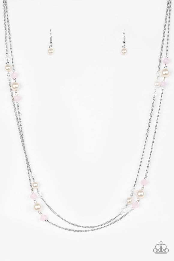 Paparazzi Spring Splash - Pink - Silver Necklace and matching Earrings - Lauren's Bling $5.00 Paparazzi Jewelry Boutique