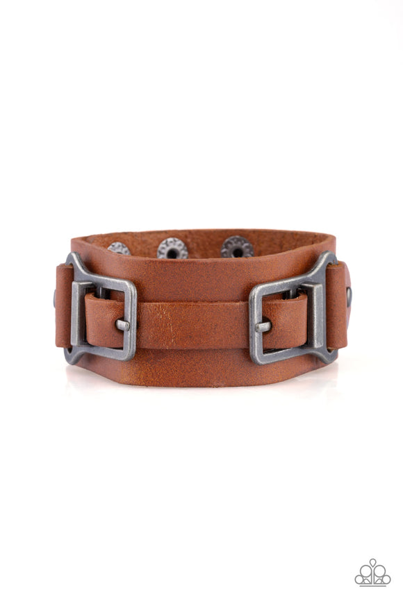 Paparazzi Scout It Out - Brown - Leather Band - Abstract Buckle - Snap Bracelet