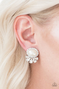 Paparazzi Happily Ever After-Glow - White Pearl and Rhinestone - Post Earrings - Lauren's Bling $5.00 Paparazzi Jewelry Boutique