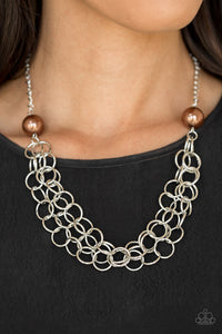 Paparazzi Daring Diva - Brown Pearl - Silver Necklace & Earrings - Lauren's Bling $5.00 Paparazzi Jewelry Boutique