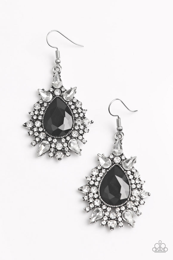 Paparazzi Diva Decor - Black - Teardrop - White Rhinestones - Earrings - Lauren's Bling $5.00 Paparazzi Jewelry Boutique