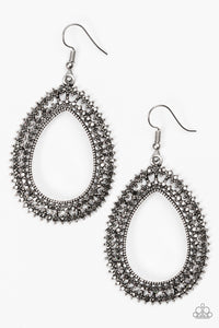 Paparazzi Award Show Sparkle - Silver - Hematite Rhinestone Earrings - Lauren's Bling $5.00 Paparazzi Jewelry Boutique